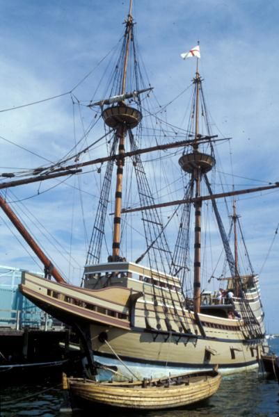 Mayflower II at Pilgrim Memorial State Park pier in Plymouth MA