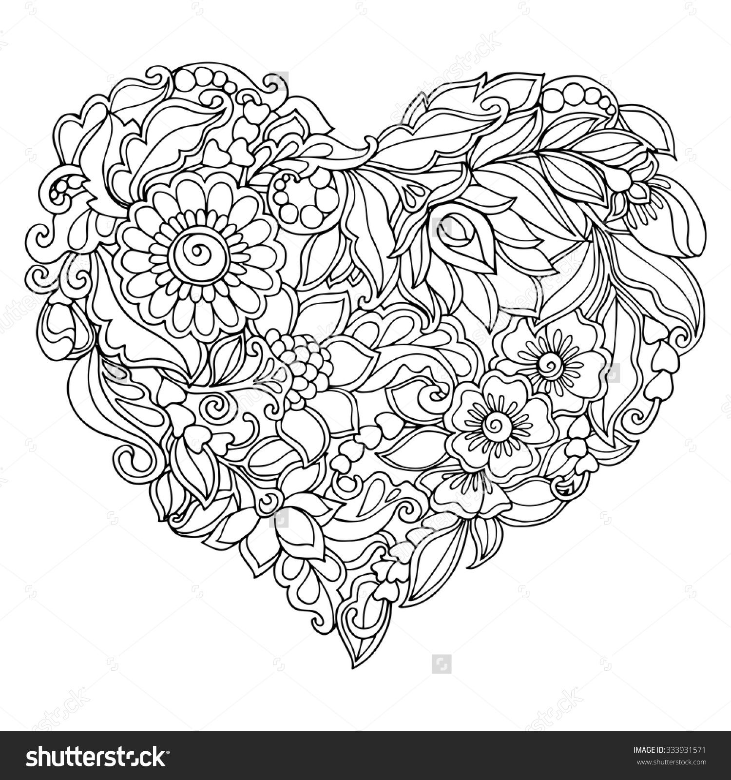 Stock Vector Coloring Book For Adult And Older Children Page With Vintage Flowers Pattern 333931589 1500x1600