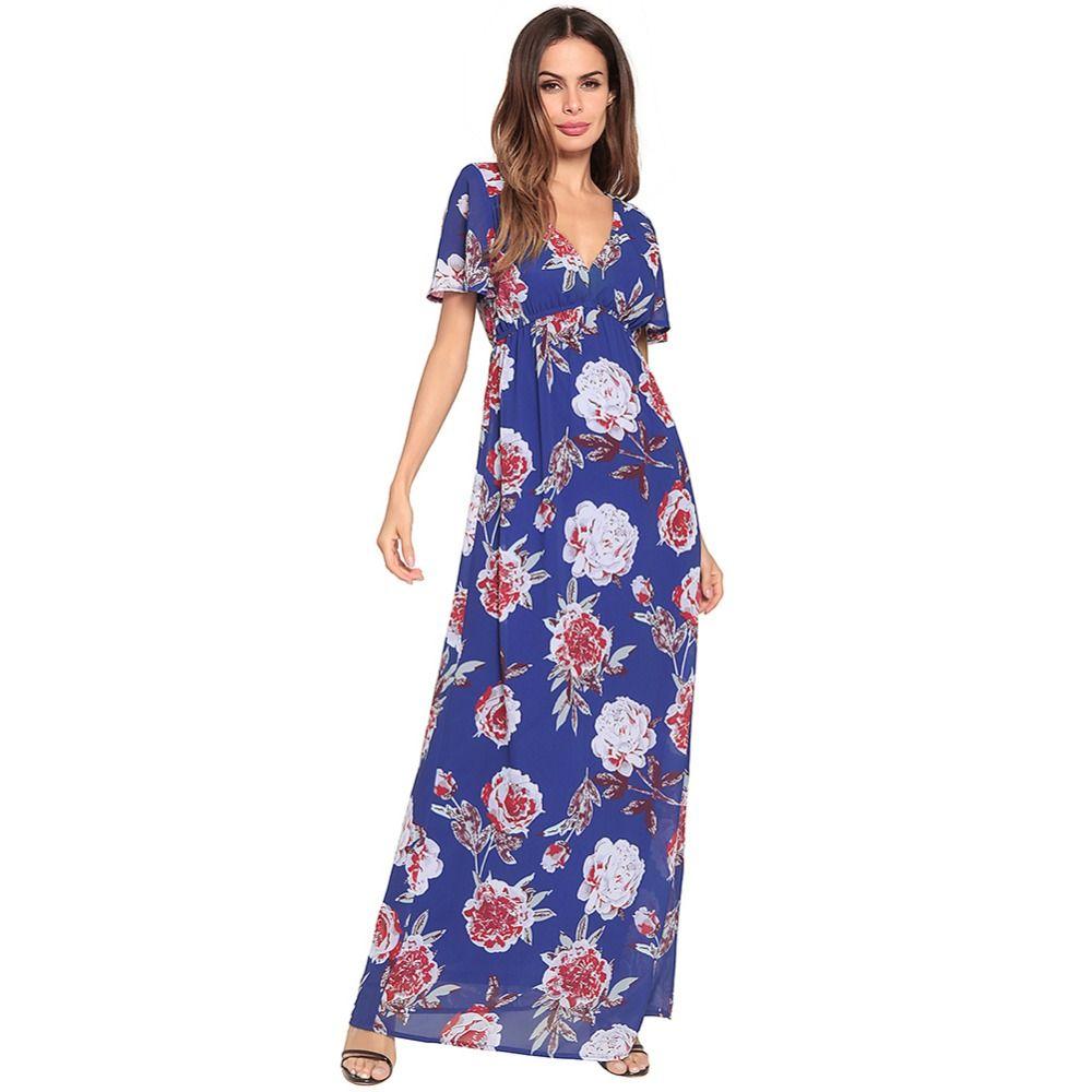 4569c7b0196b1 2018 New Long Dress Spring Summer Women Floral Print V-Neck Female ...