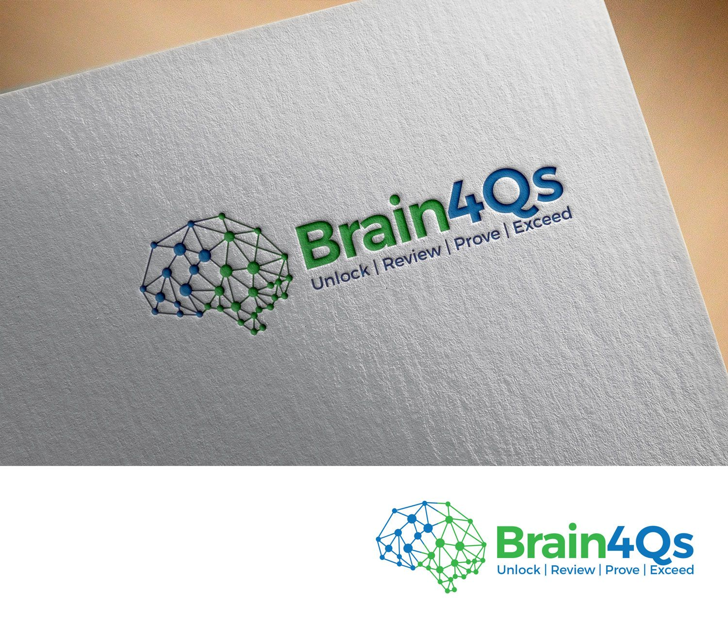 brain4qs logo web desing and business card for professional