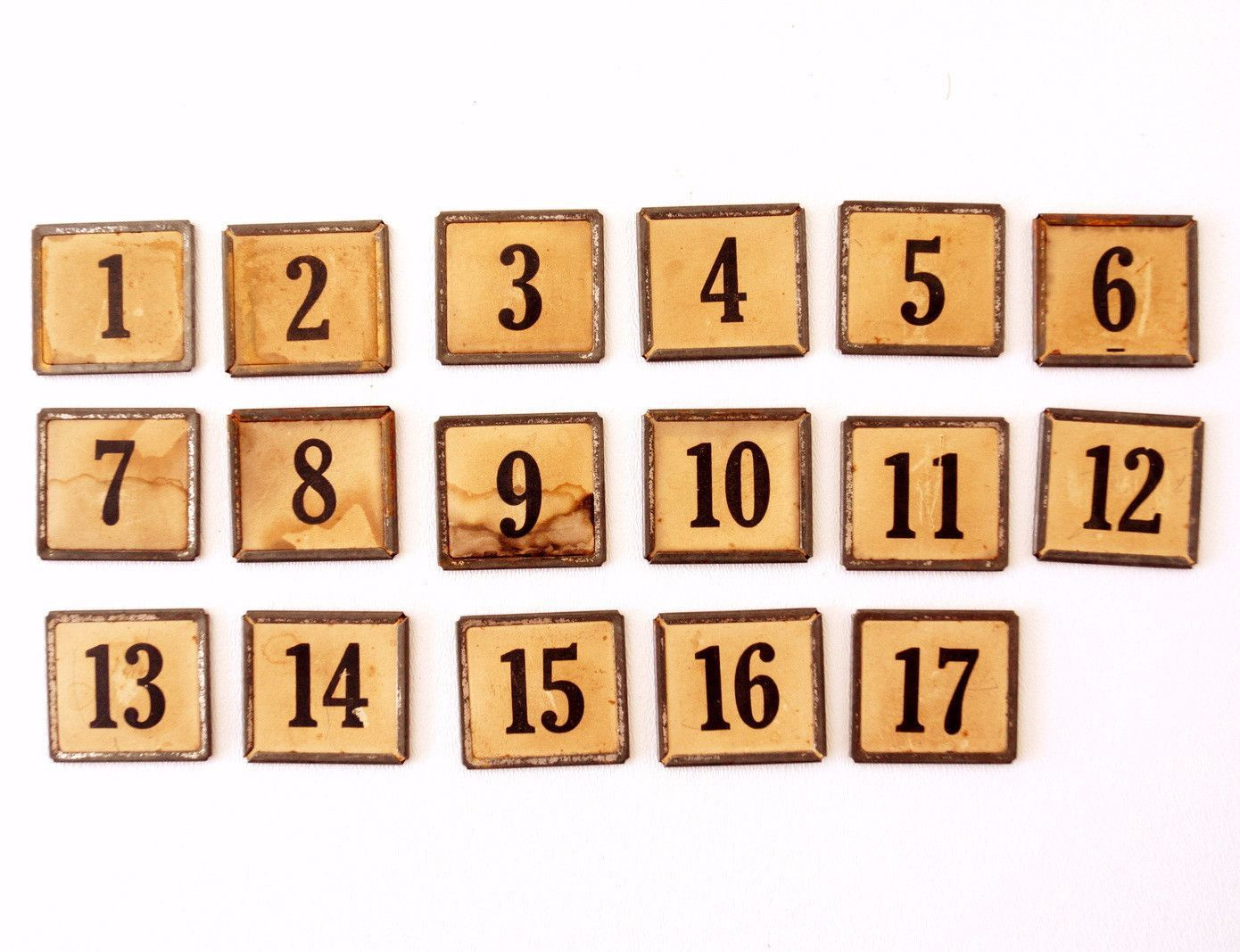 Vintage Metal Number Square Tiles 1-17, Double-Sided (c ...