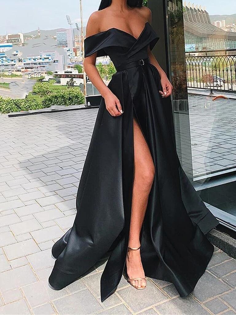 Off Shoulder Champagne/Burgundy/Black Prom Dresses Long A Line Formal Dresses