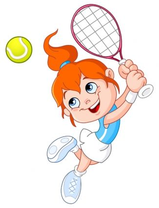 Cartoon Little Girl Vector Tennis Art Tennis Lessons For Kids Kids Stock