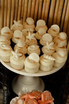 Seashell cupcakes in