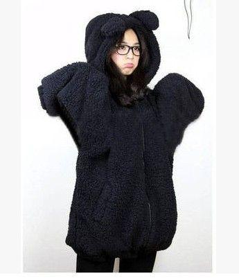 Korean students cute bear ear zipper coat - Thumbnail 2