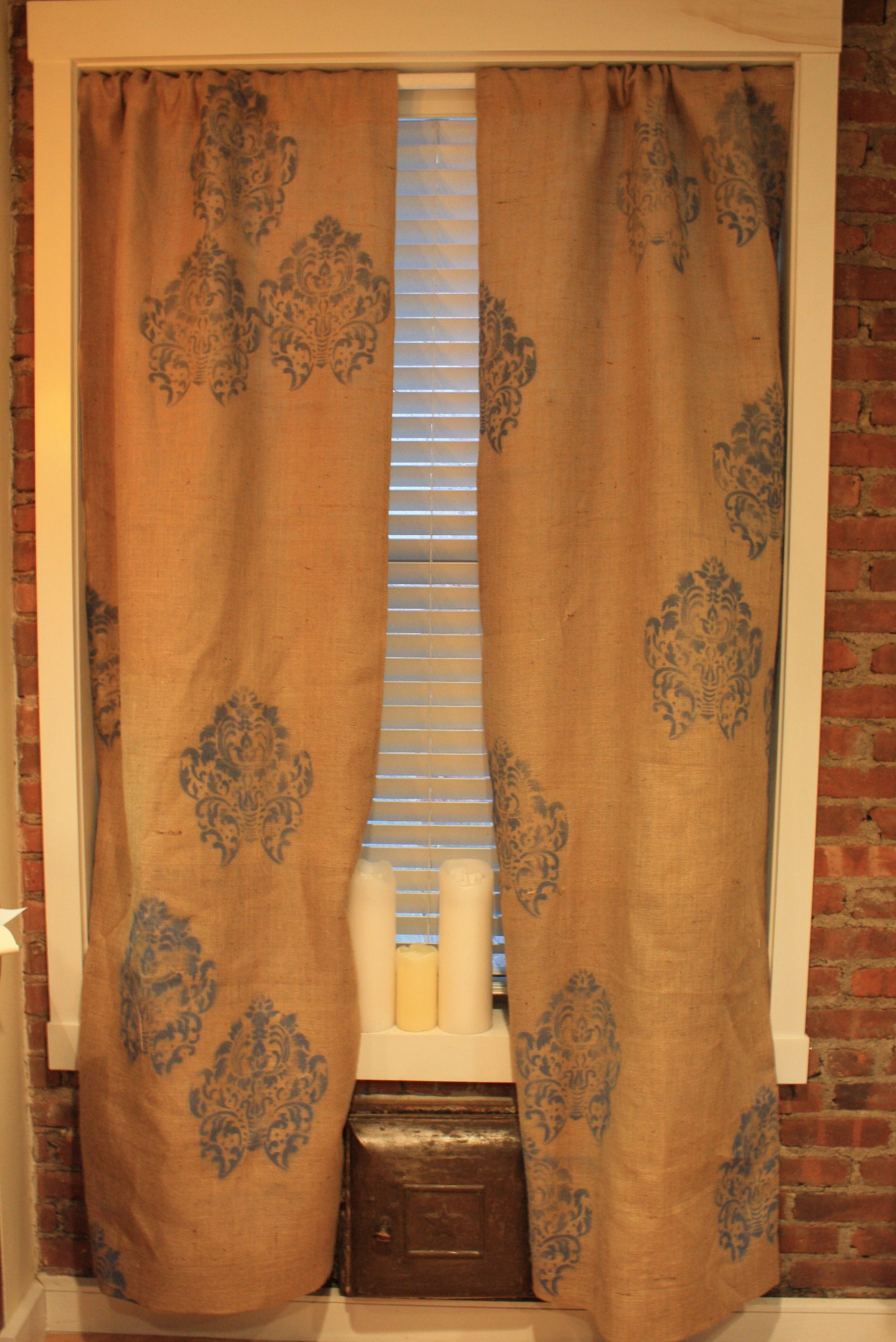 New random damask printed burlap curtains from Sew Southern Sewn! Get into it!   http://www.etsy.com/shop/SewSouthernSewn?ref=ss_profile