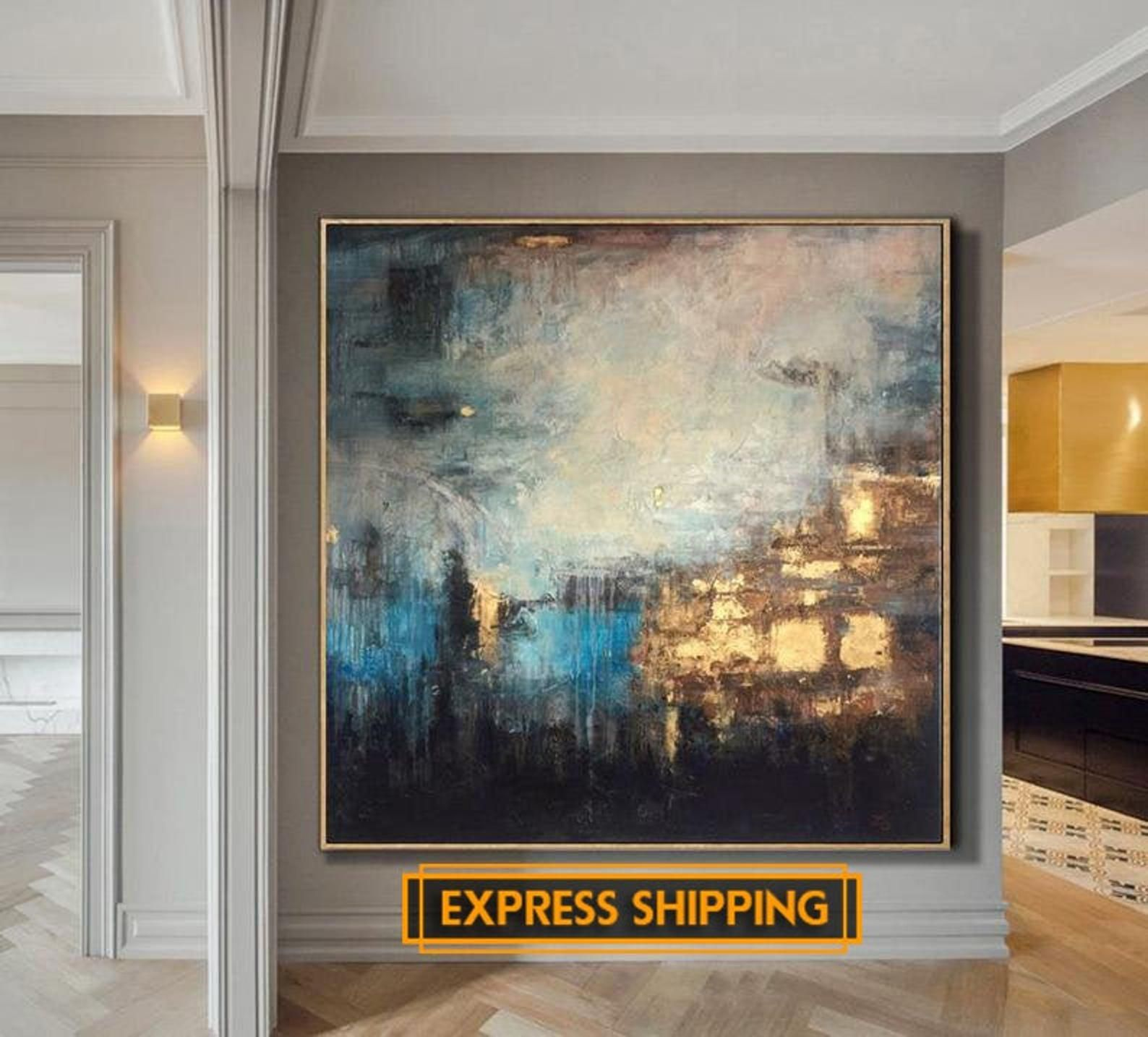 Abstract Painting Large Gold Painting Diamond Painting Thick   Etsy