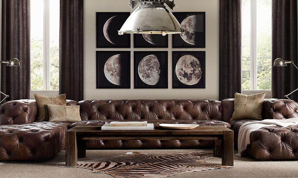 Brown Tufted Leather Couch, Phases Of The Moon Art | Restoration Hardware