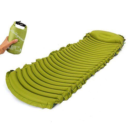 Lightweight Compact Air Sleeping Pad With Builtin Pillow