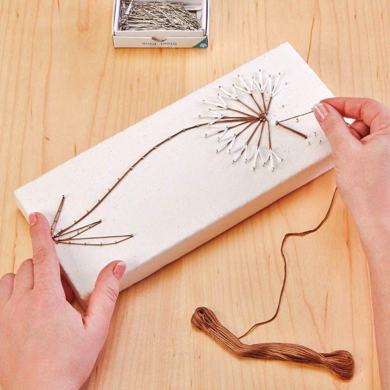 Dandelion string art joann jo ann harbor park mantel for String craft patterns