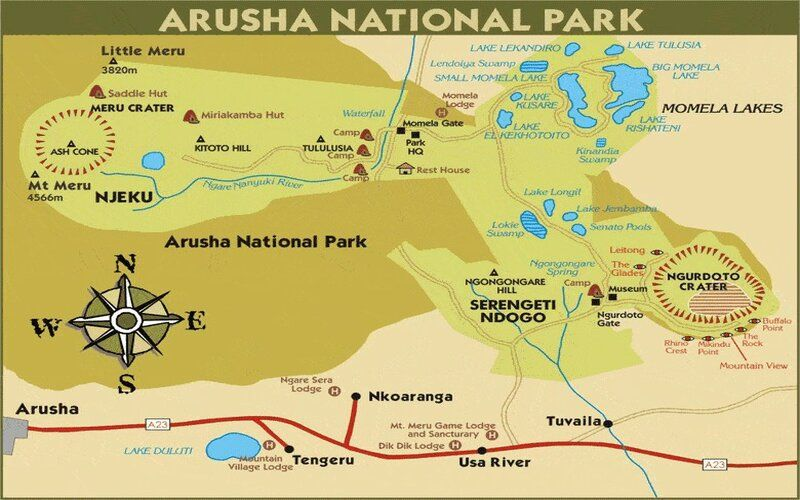 Image result for map of arusha national parks