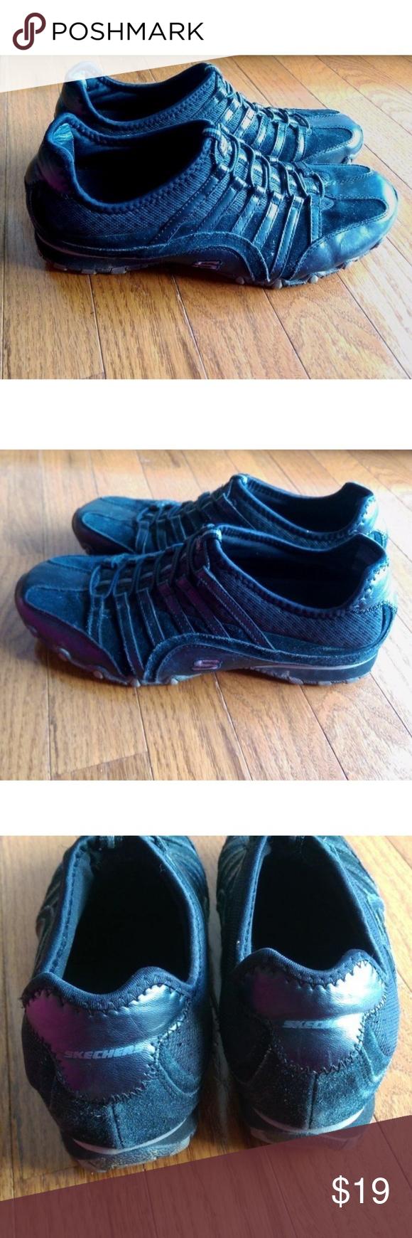 Skechers Pull-on Walking Shoes Black Women's Size 9 - 21439 (Leather Upper)