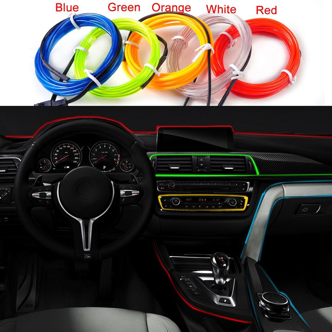 beler Car Strip Light 2m EL-Wire Flexible 12V Interior Cold Light ...
