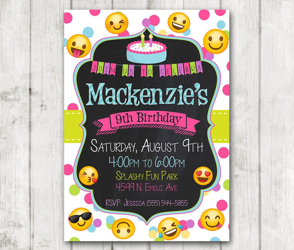 Printable Emoji Birthday Party Invitation, Emoji invitations, Custom ...