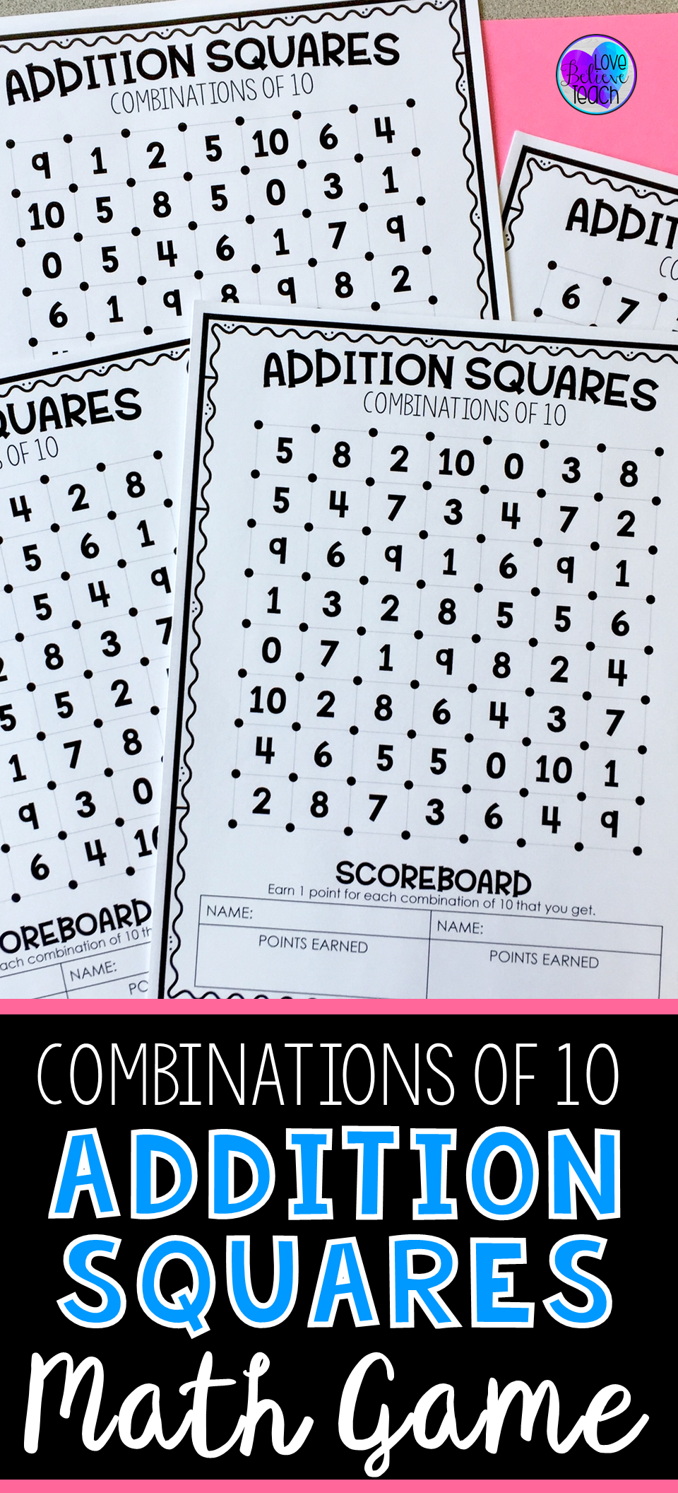 Combination of 10 - Addition Squares Math Game | Ring the Bell ...
