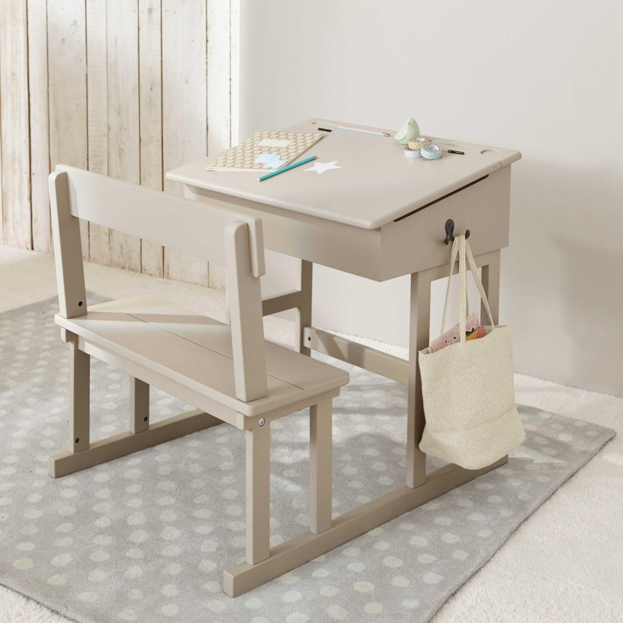 Taupe Children S Desk With White Star Print Pupitre Maisons Du Monde In 2020 Childrens Desk Kid Desk Restaurant Chairs For Sale