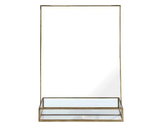 spejl med hylde A SIMPLE MESS Stella Spejl med hylde 8 x 35 x 50 cm brass  spejl med hylde