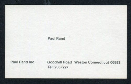 Amassblog Paul Rand Inc Business Card Fonts Stamped Business