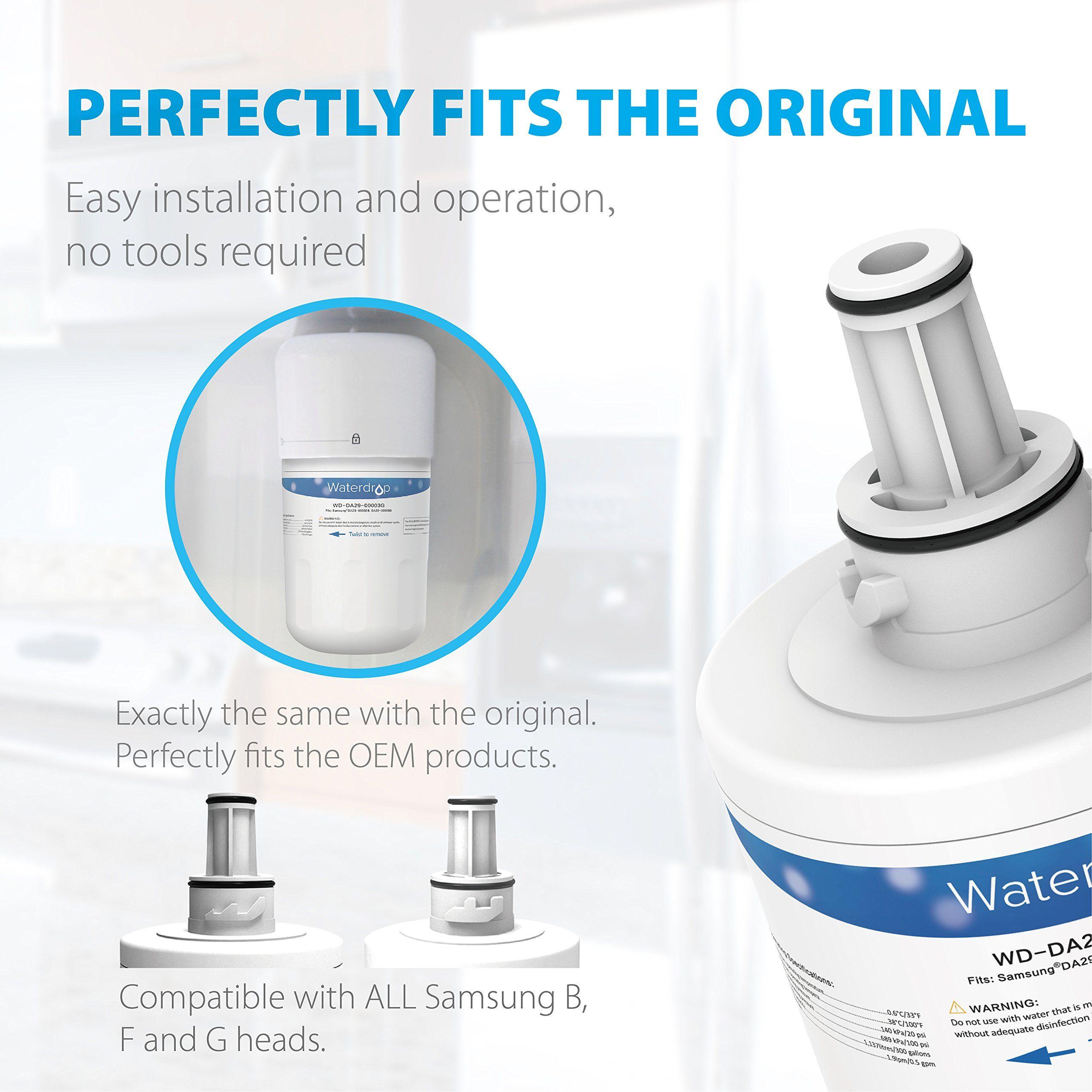 Waterdrop Da2900003g Refrigerator Water Filter Replacement For Samsung Da2900003g Aquapure Plus Da2900003b Hafcu Refrigerator Water Filter Water Filter Filters