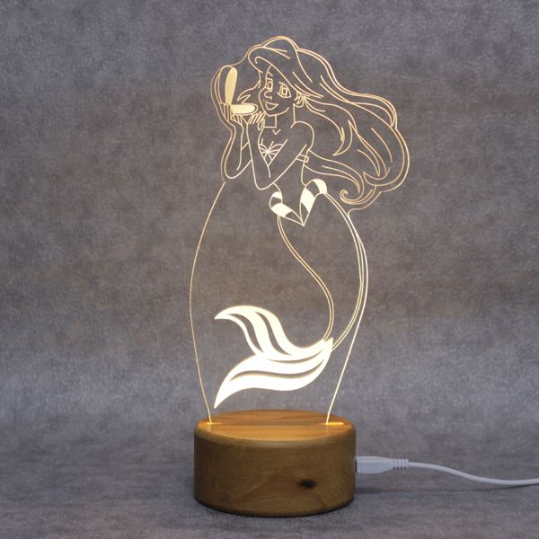 Old Fashioned Nature Solid Wood Led Lit Lamp Base For Acrylic Plate Laser Engraved Acrylic Lamp Small Lamps