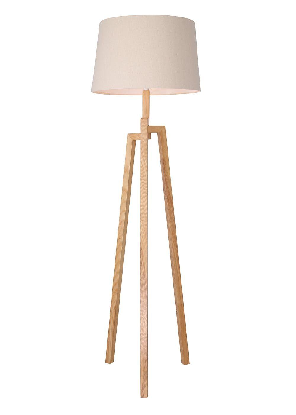 Luca Tripod Floor Lamp H156cm X W46cm Brown Wooden Floor