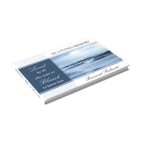 Ocean / Beach Themed Funeral Guest Book Template with easy to ...