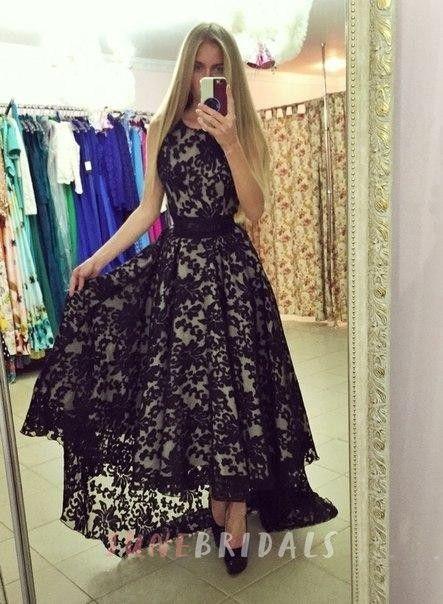 Modern Jewel Sleeveless Lace Prom Dress Sweep Train