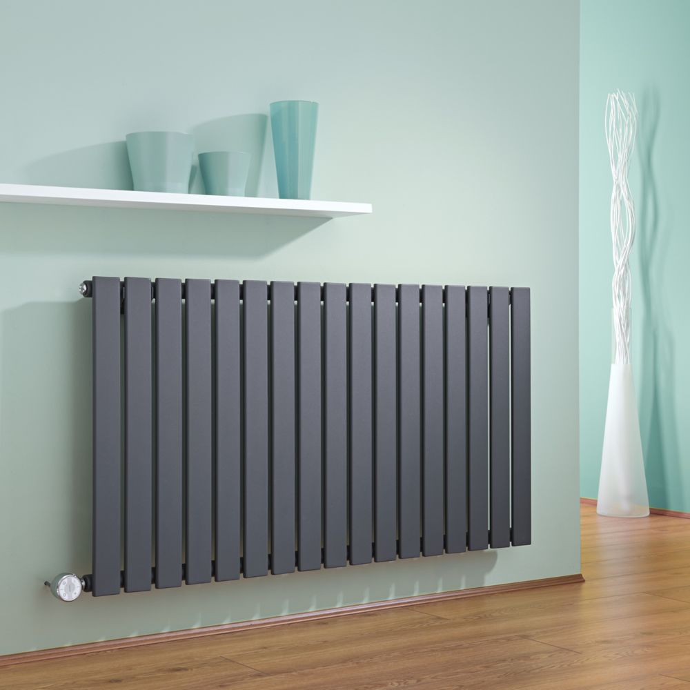 hudson reed radiateur design lectrique horizontal anthracite delta 63 5cm x 119cm x 4 6cm. Black Bedroom Furniture Sets. Home Design Ideas