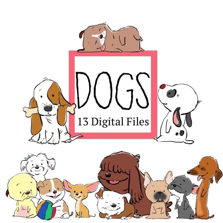 Cute Dogs Clip Art 13 Digital Files Dog Clip Art Clip Art Dogs