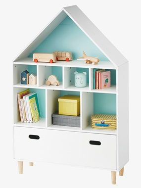meuble de rangement 9 cases maison blancbleu vertbaudet