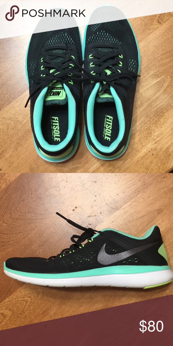 7a25346a6cde2 Nike fitsole flex 2016 running shoes! Black   turquoise Nike running shoes.  Only been worn ONE time! Size 9.5! Super comfortable. Nike Shoes Sneakers