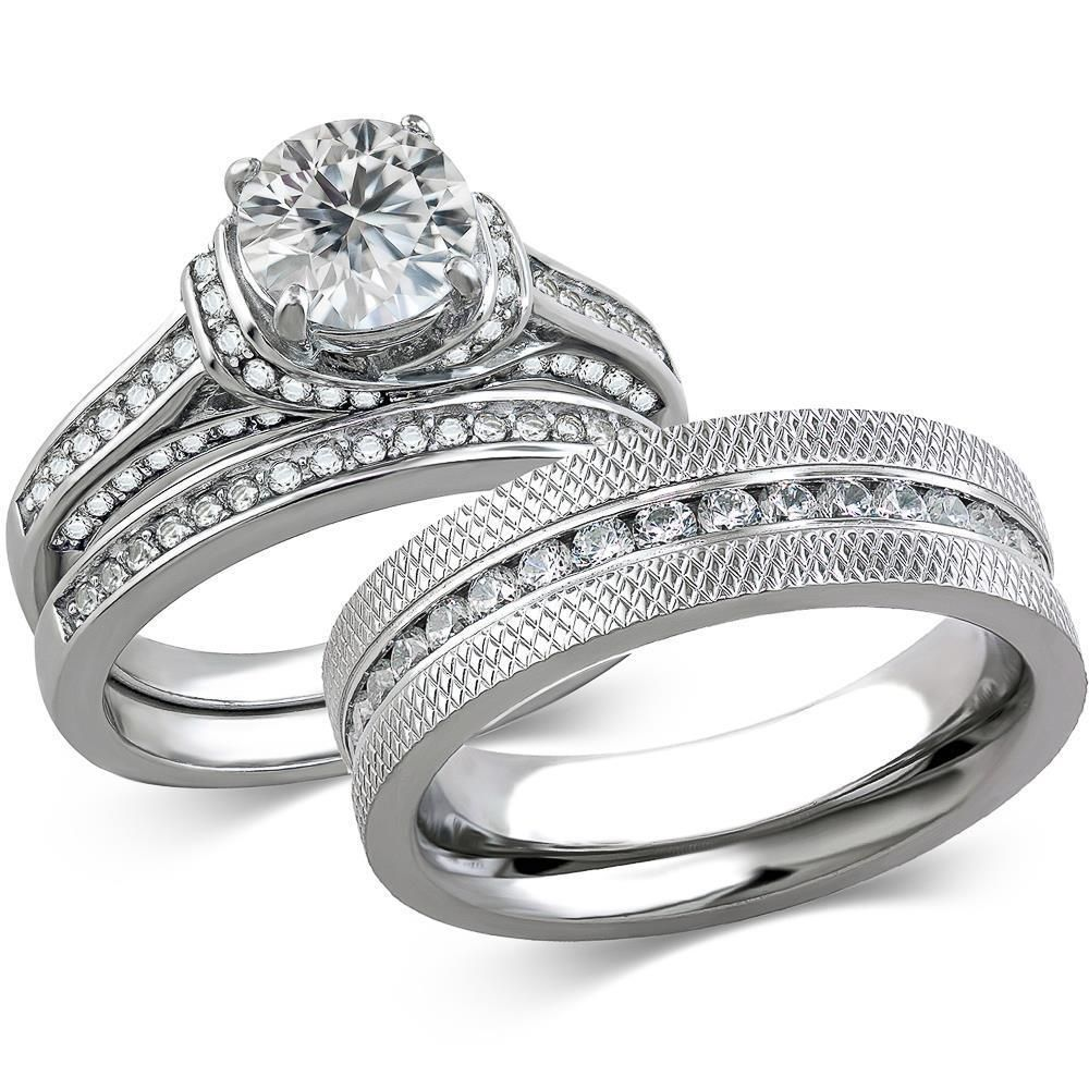 Details about His & Hers Stainless Steel 3 Piece Cz