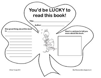 Shaped Like A Shamrock, This Form Lets Students Write Book Reviews With  Illustrations Onto The  Printable Book Review Template