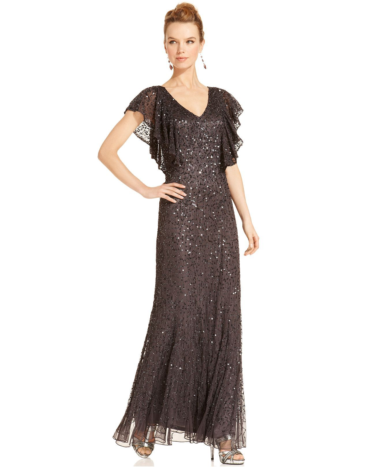 JS Collections Dress, Short-Sleeve Beaded Sequined Gown   Clothes ...
