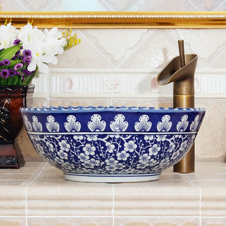 Wash Basin Counter Hand Flow Blue China And White