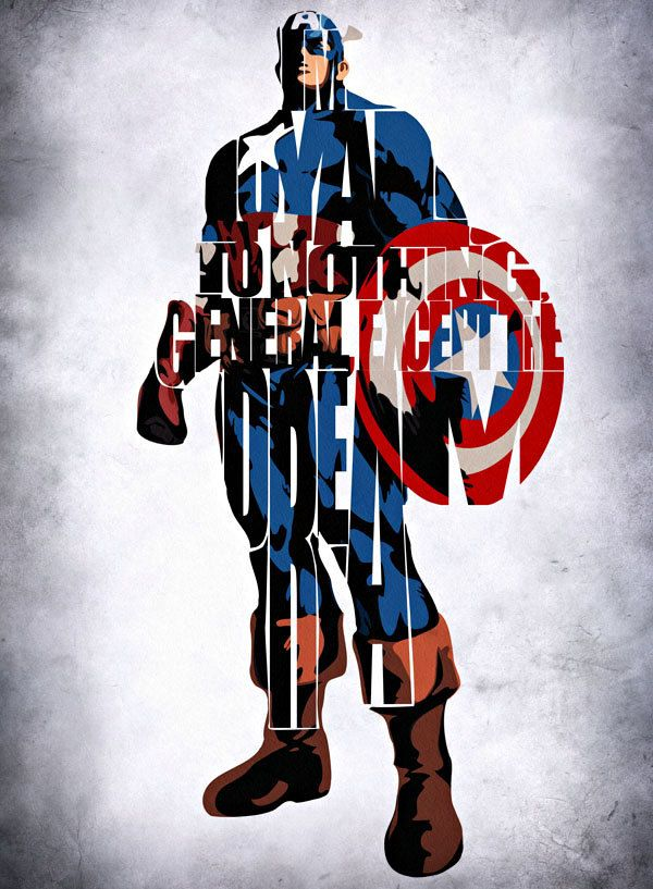 Captain america inspired typographic print and by geekmywall 25 00