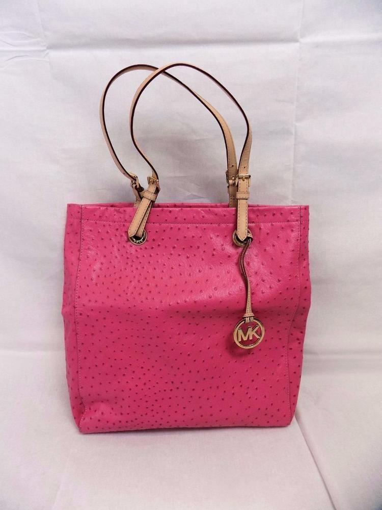 Michael Kors Handbag Pink Ostrich Leather Embossed Satchel New Michaelkors Hobo