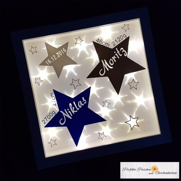 Weiteres - Beleuchteter Bilderrahmen Stern/Sterne Zwillinge - ein Designerstück von PerfektePuschen bei DaWanda