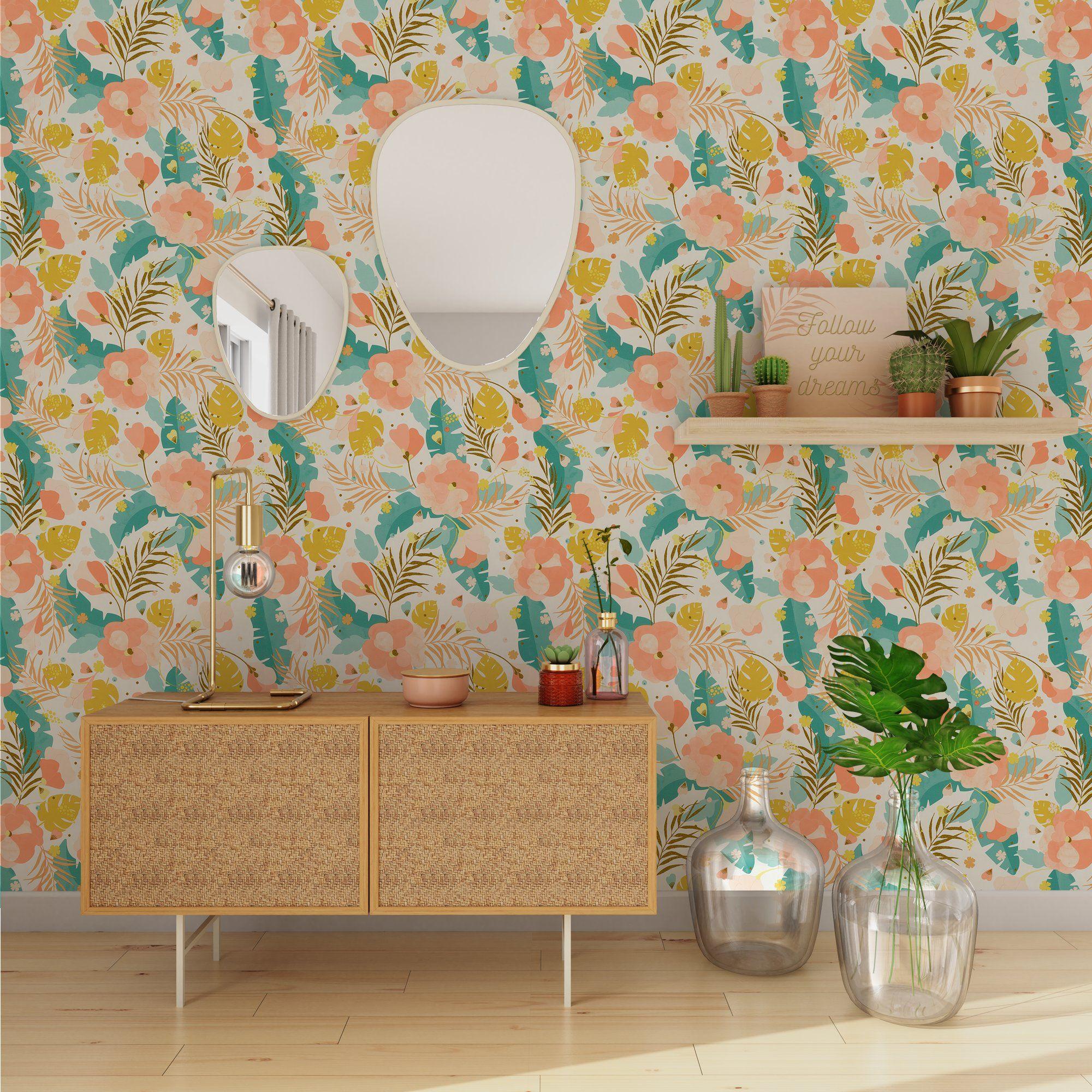 Papier Peint Intisse Aurore Tropicale By Nymphea S Factory Coloris Multicolore En 2020 Papier Peint Papier Peint Intisse Papier Peint Chambre Enfant
