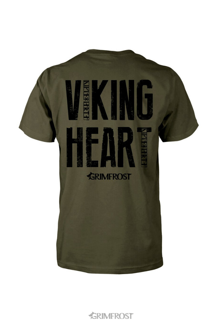 T Shirt Viking Heart Military Green T Shirt Shirts Quality T Shirts