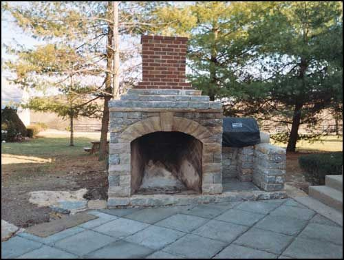 patio with fireplace charles dewar stone mason lexington ky