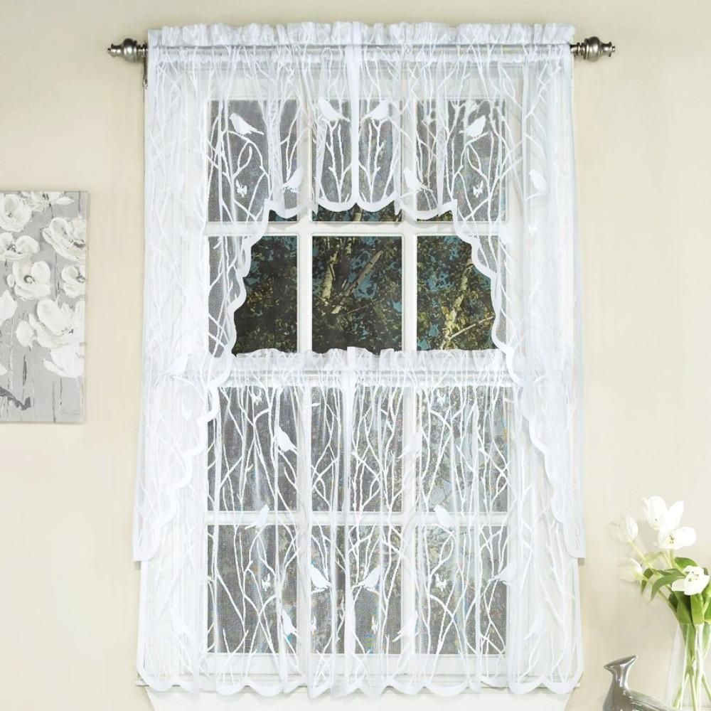 Songbird Lace Tiers Valance And Swags Sweet Home Collection Lace Curtains Kitchen Curtains