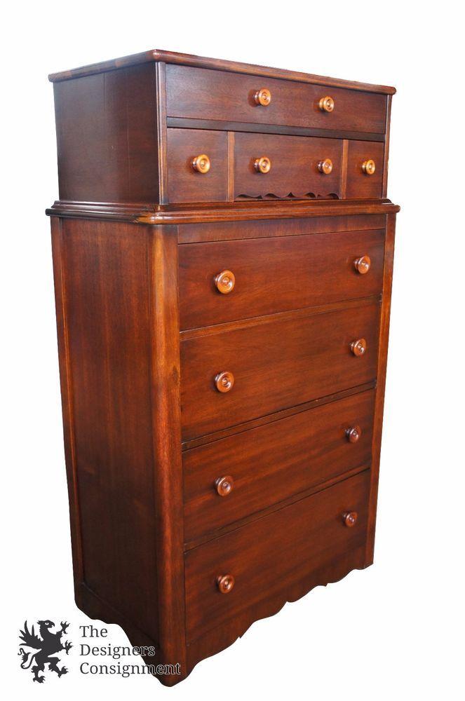 buy popular 5aece bf315 Rare Cavalier Antique 1940s Mahogany Tallboy Dresser Early ...