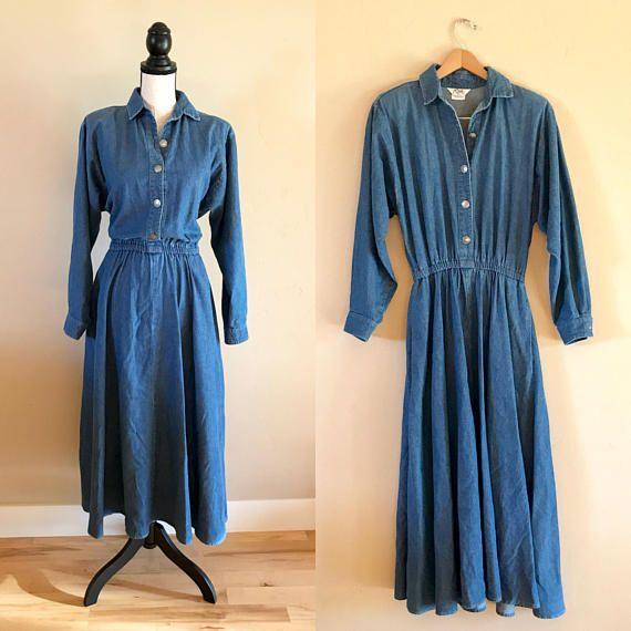90 S Roper Denim Dress Vintage Denim Roper Jeans Vintage Denim Denim Dress Vintage Dresses