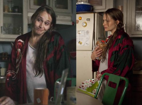 a742d3bbcc Jemima Kirke looks amazing in her Josie Natori silk robe as Jessa on  Girls   HBO