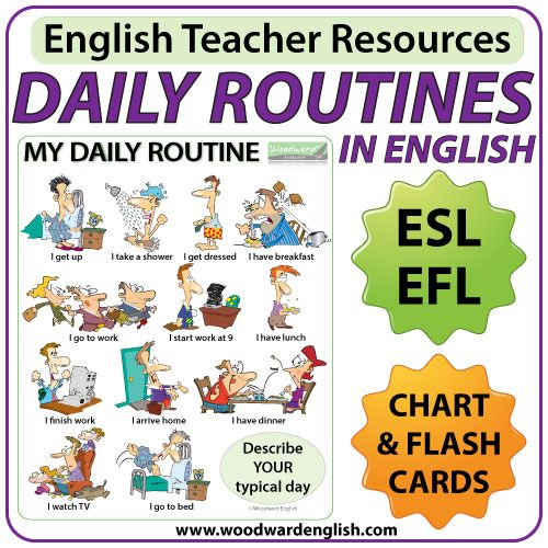 daily routines in english chart flash cards english