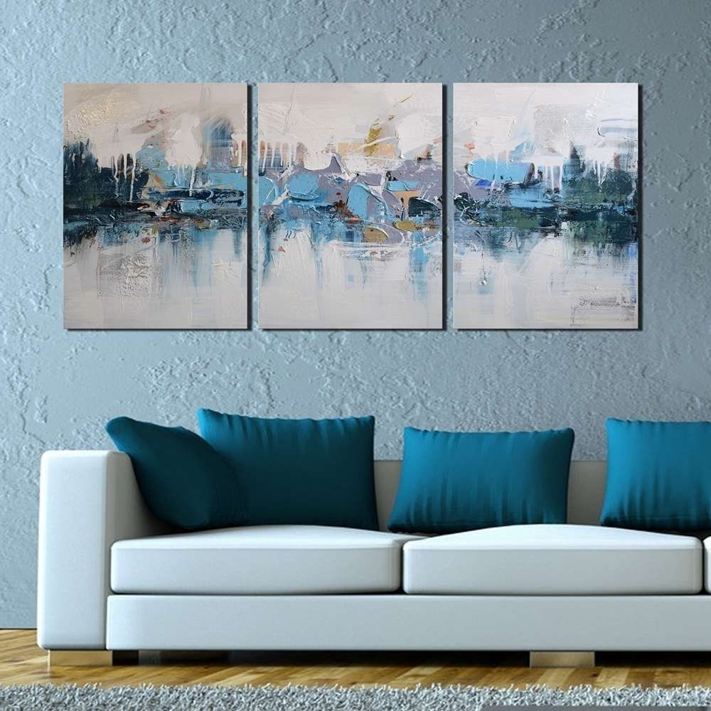 Amazon Com Artland Modern 100 Hand Painted Framed Abstract Oil Painting Blue Villages 3 Abstract Wall Art Abstract Wall Art Painting Oil Painting Abstract