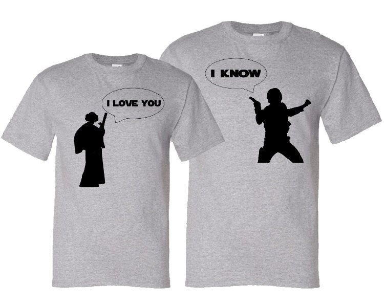 d39ee05b19 I Love You - I Know - Geek Couple Valentine's Day Matching Silhouette T- Shirt Gift Set - Heather Grey / Black. $37.50, via Etsy.