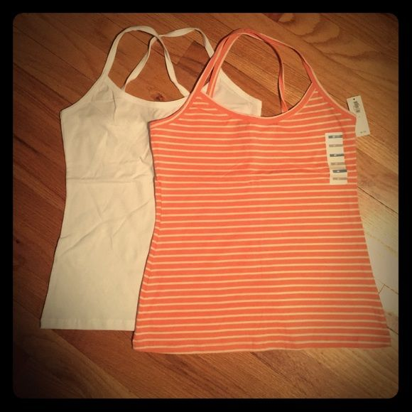 NWT 2 Old Navy Tank Tops 2 tank tops, same style. One is peach and white striped, the other is white. Layer them or wear on their own. Old Navy Tops Tank Tops