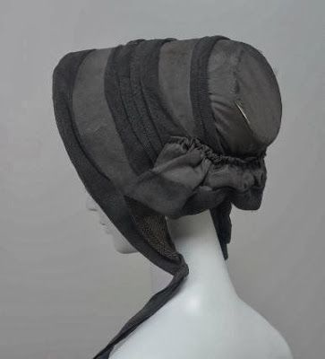 Mourning Bonnet, circa 1840-1845, via In the Swan's Shadow.